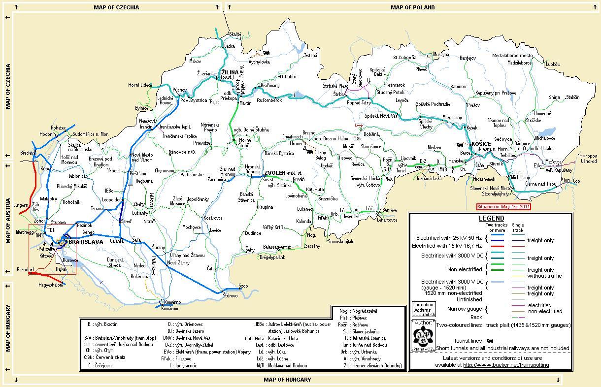 Slovensko Zeleznicni Mapa Slovensko Vlak Mapa Vychodni Evropa
