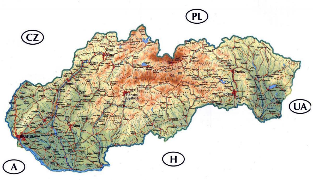 Mapa Slovenska Podrobna Mapa Slovenska Vychodni Evropa Evropa